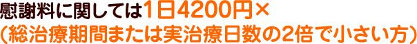 慰謝料に関しては1日4200円×(総治療期間または実治日数の2倍で小さい方)
